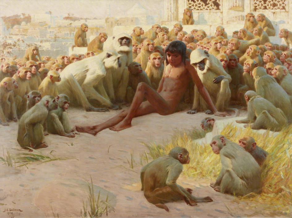 john_charles_dollman_-_mowgli_made_leader_of_the_bandar_log